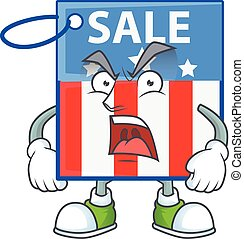 USA price tag cartoon character design with angry face