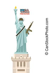USA protection. Statue of Liberty with gun. Symbol of democracy and machine gun belts. Landmark American military helmet. famous sculpture in New York and soldiers badge. Patriotic military illustration