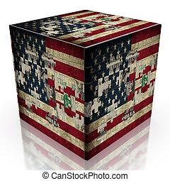 USA puzzle flag