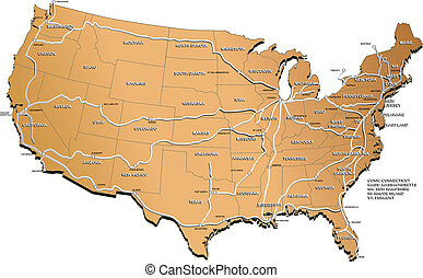 USA railway map - map of the USA with names of the states,...
