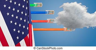 usa, rechnen, bild, neutralität, fahne, netz, wolke