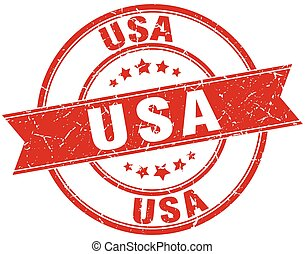 usa red round grunge vintage ribbon stamp