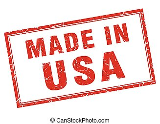 usa red square grunge made in stamp