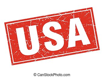 usa red square grunge vintage isolated stamp