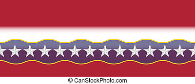 USA red white and blue border with beveled stars