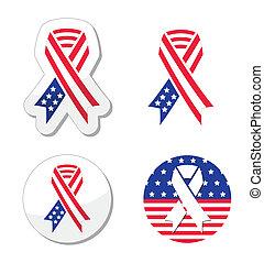 USA ribbon flag - patriotism - American vector flag ribbons...