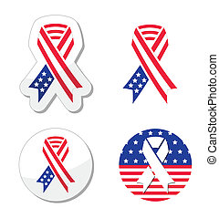 USA ribbon flag - patriotism - American vector flag ribbons...