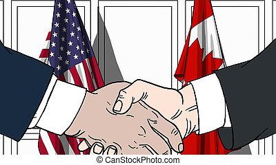 usa, rillend, tegen, of, politici, vlaggen, illustratie, samenwerking, handen, canada., vergadering, spotprent, verwant, zakenlieden