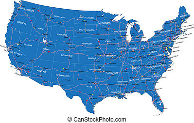 Highly detailed vector map of U.S.A. with administrative regions, main cities and roads.