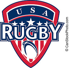 USA rugby ball shield stars stripes - illustration of an...