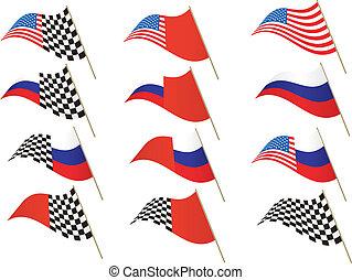 USA, Russia, Checkered Flag