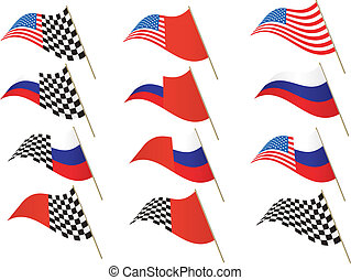 Stars and Stripes, Russian and Checkered Flag, editable illustration Vector. Re-sizeable to any size.