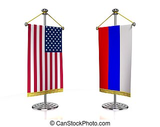 USA Russia meeting 3d concept