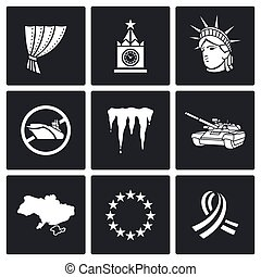 usa, russland, konflikt, icons., vektor, abbildung