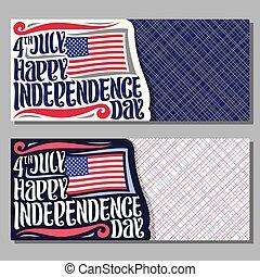 usa, salutation, vecteur, cartes, jour, indépendance