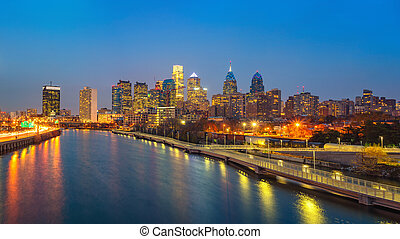 usa., schuylkill, филадельфия, линия горизонта, река, ночь