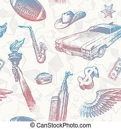 usa, &, -, seamless, ręka, symbolika, wektor, tło, znaki, pociągnięty