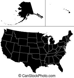 USA shape. - Detailed vector shape of the Unites States of...