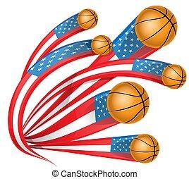 usa shape flag with basketball
