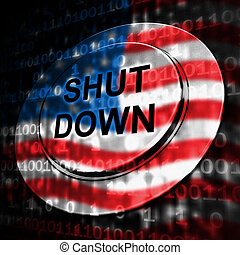 Usa Shutdown Button Political Government Shut Down Means National Furlough