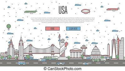 USA skyline with national famous landmarks