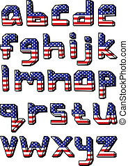 usa small alphabet - American flag small font