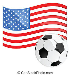 Illustration of a soccer ball in front of the American flag