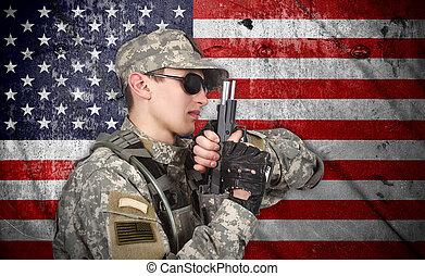usa, soldat, med, gevär
