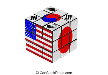USA, South Korea and Japan flag puzzle shape. Isolated on white background.