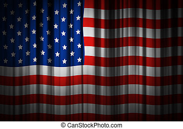 USA stage curtain background design of american flag