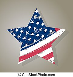 USA Star, Grunge american flag, vector
