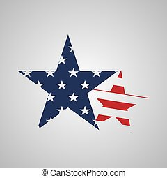 Usa star sign in flag colors. Vector