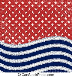USA star vector background. American patriotic paper cut frame with stars and stripes pattern.