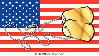 USA Stars And Stripes And Dog Tag Set
