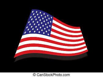 USA stars and stripes black flag