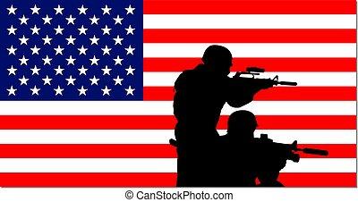 USA stars & stripes banner soldiers - USA stars & stripes...