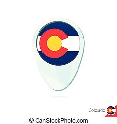 USA State Colorado flag location map pin icon on white...