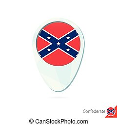 USA State Confederate flag location map pin icon on white...