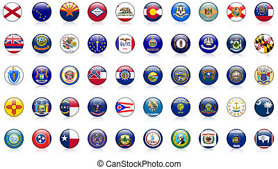 USA state flags complete set of 50 state flag buttons