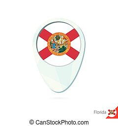 USA State Florida flag location map pin icon on white background.