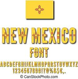 USA state font - New Mexico USA state flag font. Alphabet,...