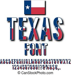 USA state font - Texas USA state flag font. Alphabet,...