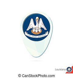 USA State Louisiana flag location map pin icon on white...