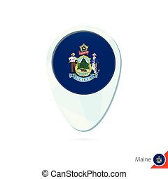 USA State Maine flag location map pin icon on white...
