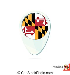 USA State Maryland flag location map pin icon on white background.