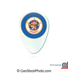 USA State Minnesota flag location map pin icon on white background.