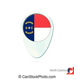 USA State North Carolina flag location map pin icon on white...
