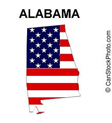 USA state of Alabama in stars and stripes design