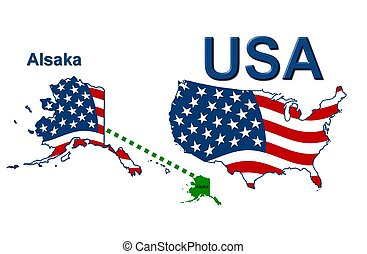 USA state of Alaska in stars and stripes design