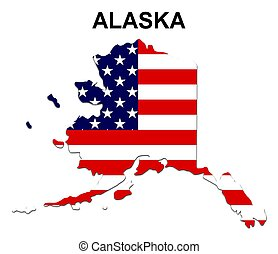 USA state of Alaska in stars and stripes design